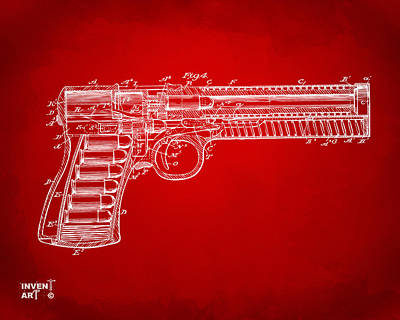 X Ray Digital Art - 1903 Mcclean Pistol Patent Minimal - Red by Nikki Marie Smith