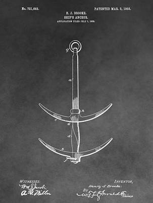 Drawing - 1903 Ship's Anchor by Dan Sproul