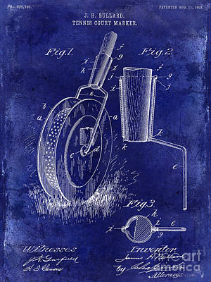 1903 Tennis Court Marker Patent Drawing Blue Art Print by Jon Neidert