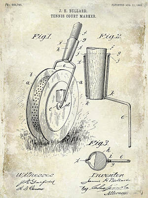 Marker Photograph - 1903 Tennis Court Marker Patent Drawing by Jon Neidert