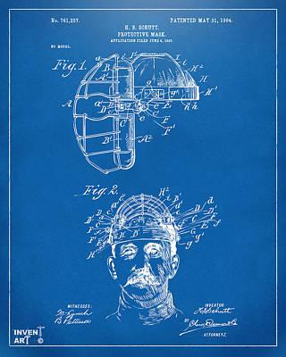 Digital Art - 1904 Baseball Catchers Mask Patent Artwork - Blueprint by Nikki Marie Smith