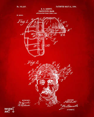 Baseball Games Digital Art - 1904 Baseball Catchers Mask Patent Artwork - Red by Nikki Marie Smith
