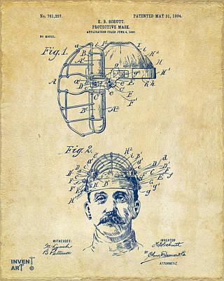 1904 Baseball Catchers Mask Patent Artwork - Vintage Art Print by Nikki Marie Smith