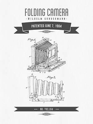 Camera Digital Art - 1904 Folding Camera Patent Drawing - Retro Gray by Aged Pixel