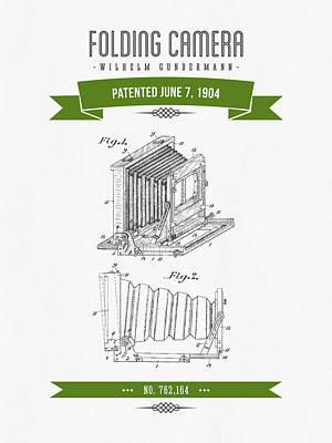 1904 Folding Camera Patent Drawing - Retro Green Art Print