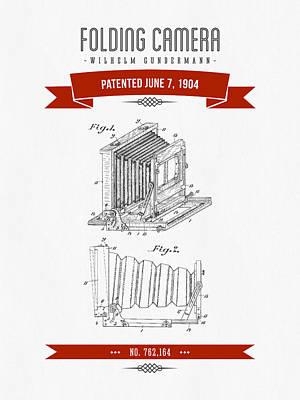 Camera Digital Art - 1904 Folding Camera Patent Drawing - Retro Red by Aged Pixel