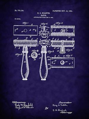 Digital Art - 1904 Gillette Razor Patent Art-b by Barry Jones