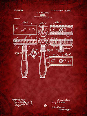 Digital Art - 1904 Gillette Razor Patent Art-r by Barry Jones