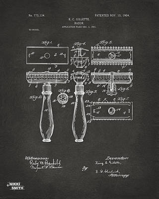 Shave Drawing - 1904 Gillette Razor Patent Artwork - Gray by Nikki Marie Smith