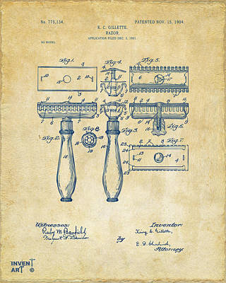 Shave Drawing - 1904 Gillette Razor Patent Artwork Vintage by Nikki Marie Smith