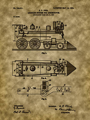 Photograph - 1904 Locomotive Patent Art by Barry Jones