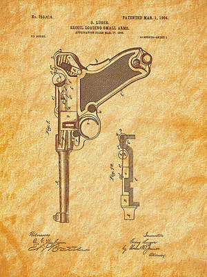 Photograph - 1904 Luger Patent Art-textured by Barry Jones