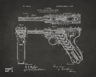 X Ray Digital Art - 1904 Luger Recoil Loading Small Arms Patent - Gray by Nikki Marie Smith