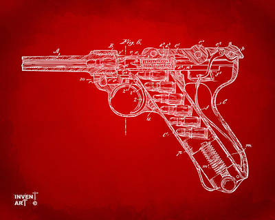 X Ray Digital Art - 1904 Luger Recoil Loading Small Arms Patent Minimal - Red by Nikki Marie Smith
