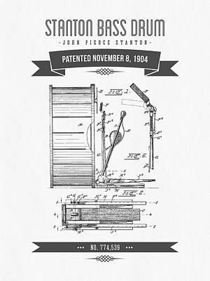 Bass Drum Digital Art - 1904 Stanton Bass Drum Patent Drawing by Aged Pixel