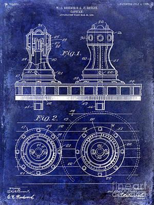 Tiller Photograph - 1905 Capstan Patent Drawing Blue by Jon Neidert