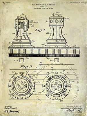 Tiller Photograph - 1905 Capstan Patent Drawing by Jon Neidert
