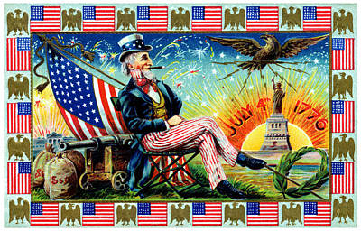 July Painting - 1905 Uncle Sams 4th Of July Party by Historic Image