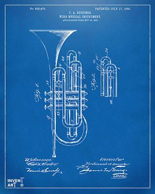 Marching Band Digital Art - 1906 Brass Wind Instrument Patent Artwork Blueprint by Nikki Marie Smith