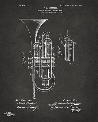 Marching Band Digital Art - 1906 Brass Wind Instrument Patent Artwork - Gray by Nikki Marie Smith