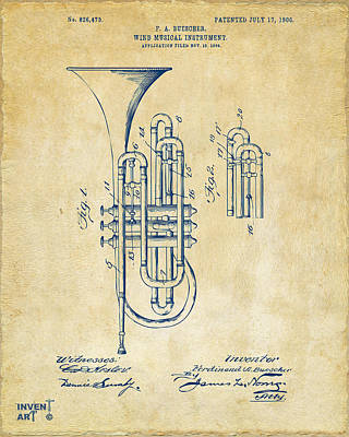 Marching Band Drawing - 1906 Brass Wind Instrument Patent Artwork Vintage by Nikki Marie Smith