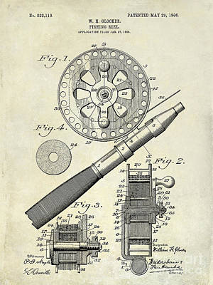 Bass Photograph - 1906 Fishing Reel Patent Drawing by Jon Neidert