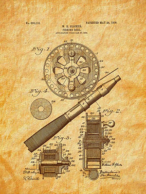 Drawing - 1906 Glocker Fishing Reel Patent by Barry Jones
