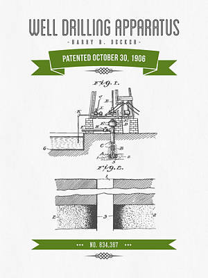 Angels And Cherubs - 1906 Well Drilling Apparatus Patent Drawing - Retro Green by Aged Pixel