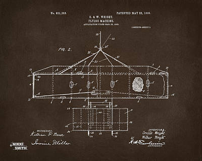 Drawing - 1906 Wright Brothers Airplane Patent Espresso by Nikki Marie Smith