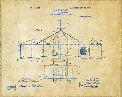Digital Art - 1906 Wright Brothers Airplane Patent Vintage by Nikki Marie Smith