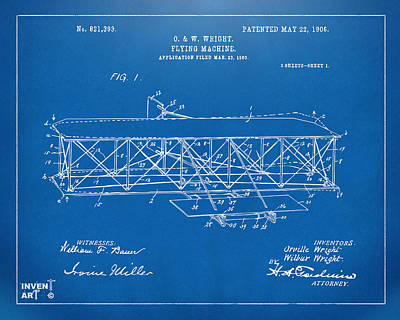 Bold Drawing - 1906 Wright Brothers Flying Machine Patent Blueprint by Nikki Marie Smith