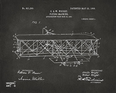 Conversation Drawing - 1906 Wright Brothers Flying Machine Patent Gray by Nikki Marie Smith