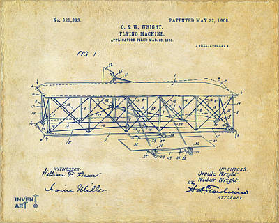 Conversation Drawing - 1906 Wright Brothers Flying Machine Patent Vintage by Nikki Marie Smith