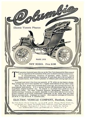 1907 - Columbia Victoria Phaeton Electric Automobile Advertisement Art Print