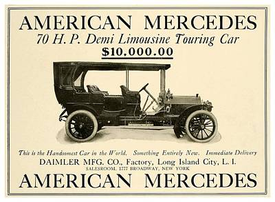 1907 Digital Art - 1907 - Daimler Manufacturing Company - American Mercedes Demi Limousine Automobile Advertisement by John Madison