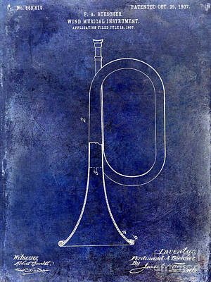 Wind Instrument Photograph - 1907 Bugle Patent Drawing Blue by Jon Neidert
