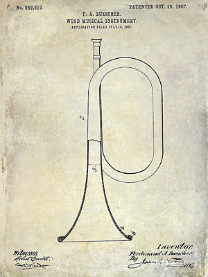 Wind Instrument Photograph - 1907 Bugle Patent Drawing by Jon Neidert