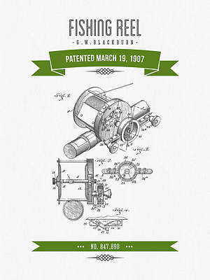 1907 Fishing Reel Patent Drawing - Green Art Print by Aged Pixel