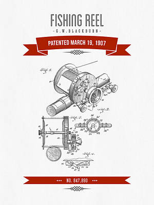 1907 Fishing Reel Patent Drawing - Red Art Print by Aged Pixel
