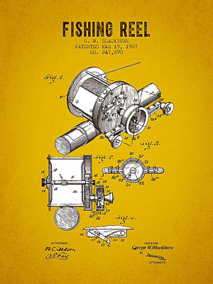 1907 Fishing Reel Patent - Yellow Brown Art Print by Aged Pixel