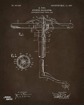1907 Henry Ford Steering Wheel Patent Espresso Art Print by Nikki Marie Smith