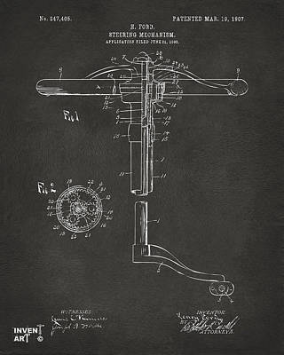 Steering Digital Art - 1907 Henry Ford Steering Wheel Patent Gray by Nikki Marie Smith
