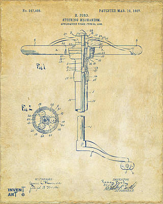 Digital Art - 1907 Henry Ford Steering Wheel Patent Vintage by Nikki Marie Smith