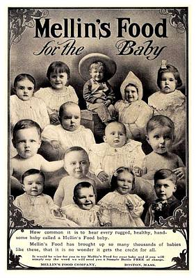 1907 Digital Art - 1907 - Mellins Baby Food Advertisement by John Madison