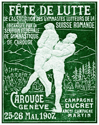 Switzerland Painting - 1907 Swiss Wrestling Poster by Historic Image
