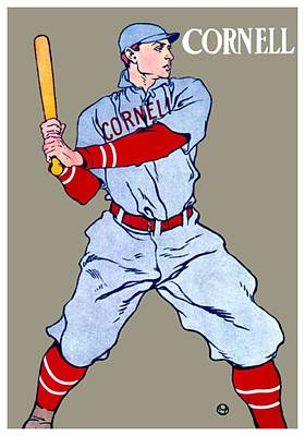 Digital Art - 1908 - Cornell University Baseball Poster - Color by John Madison