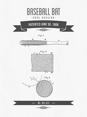 Baseball Glove Mixed Media - 1908 Baseball Bat Patent Drawing by Aged Pixel