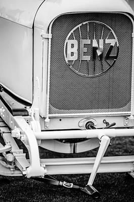 1908 Photograph - 1908 Benz Prince Heinrich Two Seat Race Car Grille Emblem -1696bw by Jill Reger