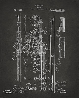 Marching Band Drawing - 1908 Flute Patent - Gray by Nikki Marie Smith