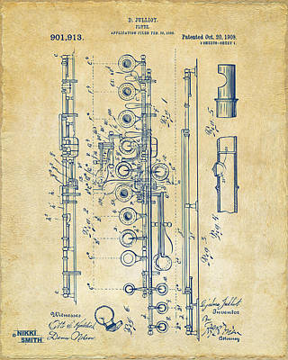 Marching Band Drawing - 1908 Flute Patent - Vintage by Nikki Marie Smith